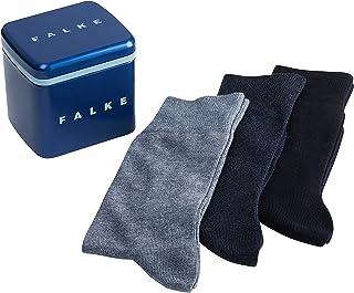 FALKE Herren Gift Box 3 Pack 3er Set Gift Box - 80% Baumwolle, 3 Paar, Verf. Farben: Grau/Schwarz Und Blau/Schwarz, Größe 39-46 - Freizeitstrümpfe im 3er Pack in Geschenkbox aus Metall
