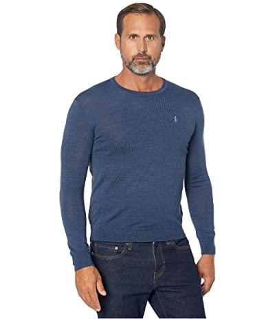 Polo Ralph Lauren Washable Merino Wool Sweater (Federal Blue Heather) Men