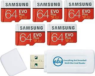 Samsung 64GB Evo Plus MicroSD Card (5 Pack EVO+) Class 10 SDXC Memory Card with Adapter (MB-MC64) Bundle with (1) Everythi...