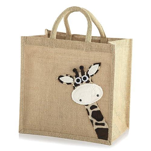 c471d658077 Jute Hessian Medium Animal Shopping Bag (Giraffe)