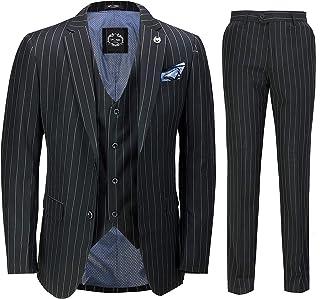 Mens 3 Piece Pin Stripe Suit Black White Retro 1920s Gatsby Style