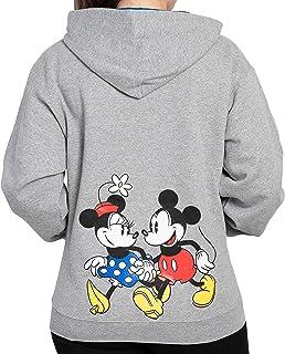Disney Hoodie Womens Mickey & Minnie Mouse Print Zip Up