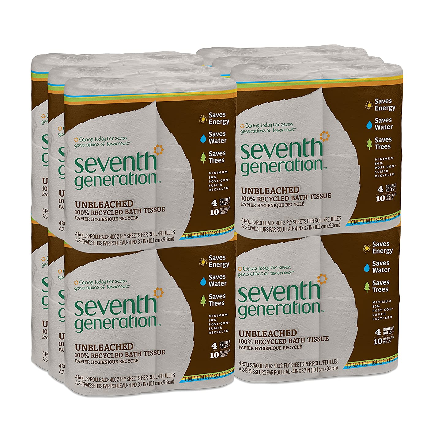 Seventh Generation Unbleached Toilet Paper, Bath Tissue, 100% Recycled Paper, 4 Count (Pack of 12) rwsfqaozhxc277