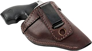 The Defender Leather IWB Holster - Fits Most J Frame Revolvers Incl. Ruger LCR, S&W 442/642, Taurus, Charter & Most .38 Special Revolvers - Made in USA