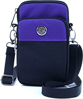 """U-TIMES Casual Water Resistant Oxford Waist Wallet Bag 6"""" Crossbody Shoulder Phone Pouch(Purple)"""
