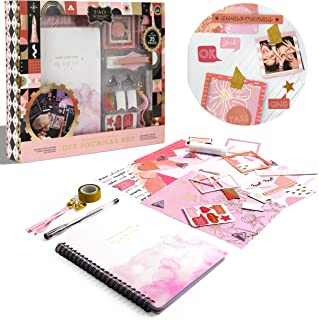 FAO Schwarz DIY Journal and Scrapbooking Set for Kids, Includes 70 Page Journal, Magnetic Bookmarks, Sticker Sheets, Gold ...