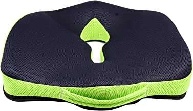 SLEEPSIA Advance Orthopaedic Coccyx Seat Cushion/Pillow with Memory Foam for Sciatica, Tailbone and Back Pain Relief (Black/Green)