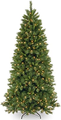 National Tree Company Pre-lit Artificial Christmas Tree   Includes Pre-strung Multi-Color LED Lights and Stand   Lehigh Valley Pine Slim - 7.5 ft