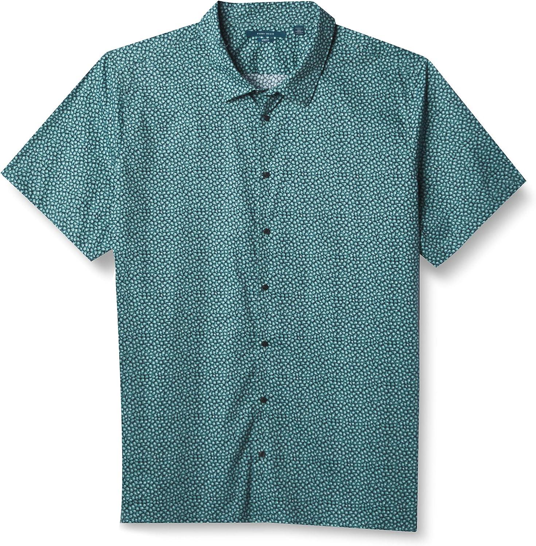 Perry Ellis Men's Short Sleeve Geometric Cluster FLR B&t Shirt