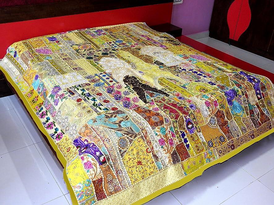 注釈を付ける不規則性逃す手刺繍ボヘミアンパッチワークベッドスプレッドカバーWall Hangingヴィンテージタペストリー