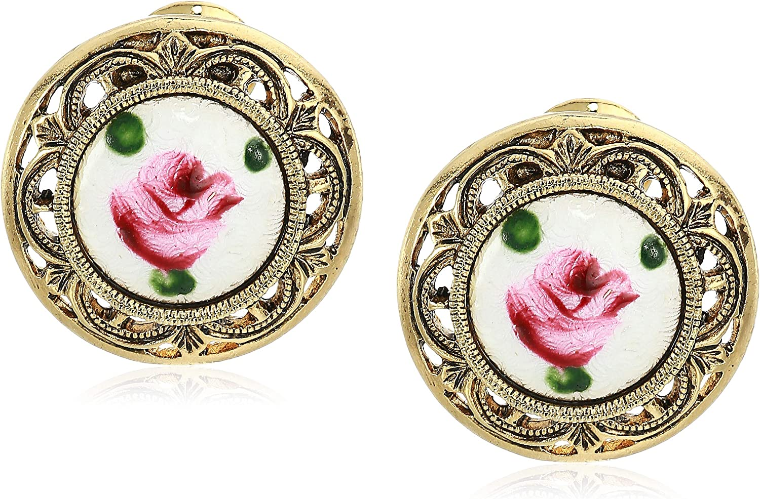 1928 Jewelry Women's Gold Tone White With Pink Flower Decal Stone Round Clip Earrings, Multi, One Size, multi