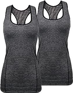 iloveSIA Women's Sports Tank Top High Impact Racerback Workout Yoga Tank Top Pack of 2