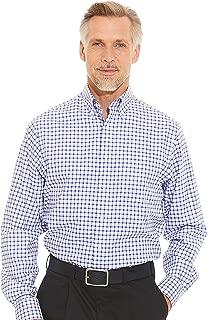 Savile Row Company Men's White Blue Twill Check Classic Fit Non-Iron Casual Shirt