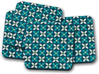 Posavasos azules con un diseño floral blanco y azul, posavasos individuales o juego de 4