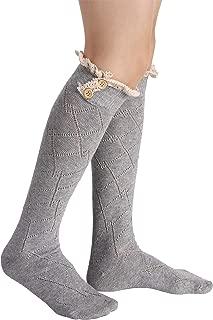 Women Socks Lace Trim Leg Warmers Button Boot Cuffs Toppers