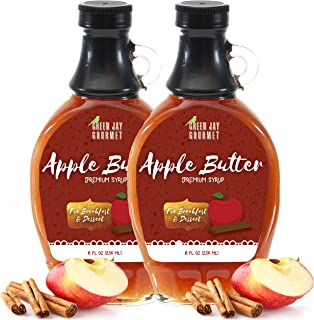 Green Jay Gourmet Apple Butter Syrup - Premium Breakfast Syrup with Sweet Apples, Spices & Lemon Juice - All-Natural, Non-GMO Pancake Syrup, Waffle Syrup & Dessert Syrup - 16 Ounces