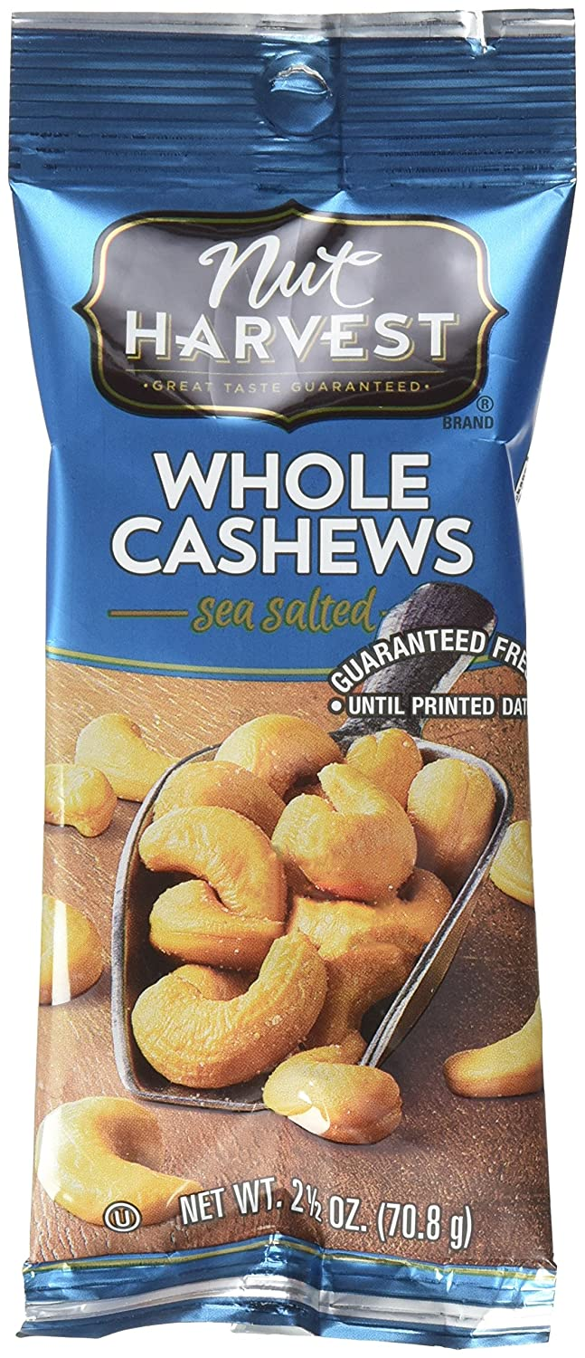 Nut Harvest Max 89% OFF Sea Salted Whole 16 Cashews Ounce Ranking TOP11 Count 2.5