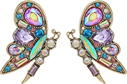 Betsey Johnson - Colorful Blooming Butterfly Stud Earrings