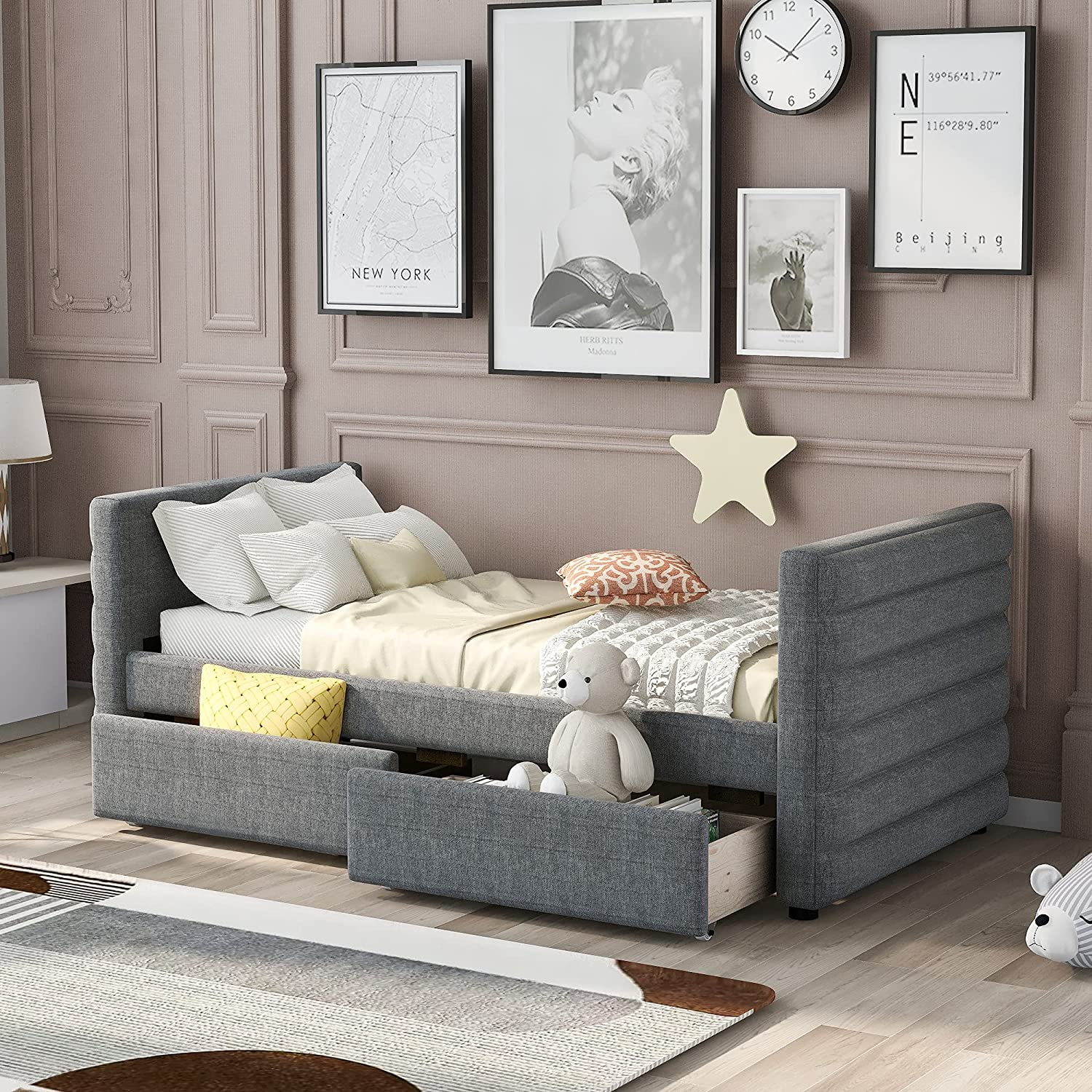 Knocbel Upholstered Twin Daybed with Platform Storage ! Super beauty product restock quality top! Limited time trial price Drawers B