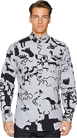 Caveman Print Two-Button Krall Shirt