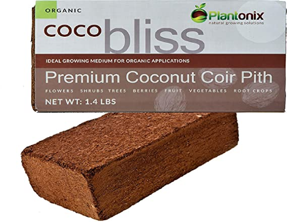 Plantonix Coco Coir Brick, OMRI Listed for Organic Use (5 Bricks)