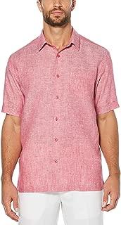 Men's Short Sleeve 100% Linen Cross-Dyed Button-Down Shirt with Pocket