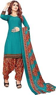 Anny Deziner Light Blue Crepe Printed Salwar suit material (Unstitched)
