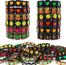 Bracelets for Kids 48 Pcs Pack Treasure Box Prizes for Classroom - Cute Stretch Bracelets w/Hearts, Apples and Smiley Faces - Great Party Favors, Stocking Stuffers, Pinata Fillers