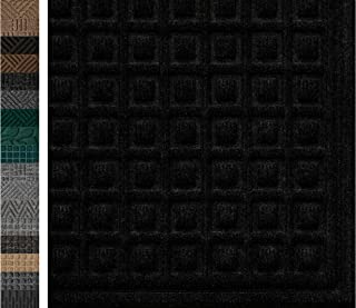 Durable Rubber Door Mat 29x17, Odorless, Non Slip Dirt Trapper, Heavy Duty, Patio, Entry, High Traffic Areas, Indoor, Outdoor, Waterproof, Easy Clean, Low-Profile Rug Mats Black