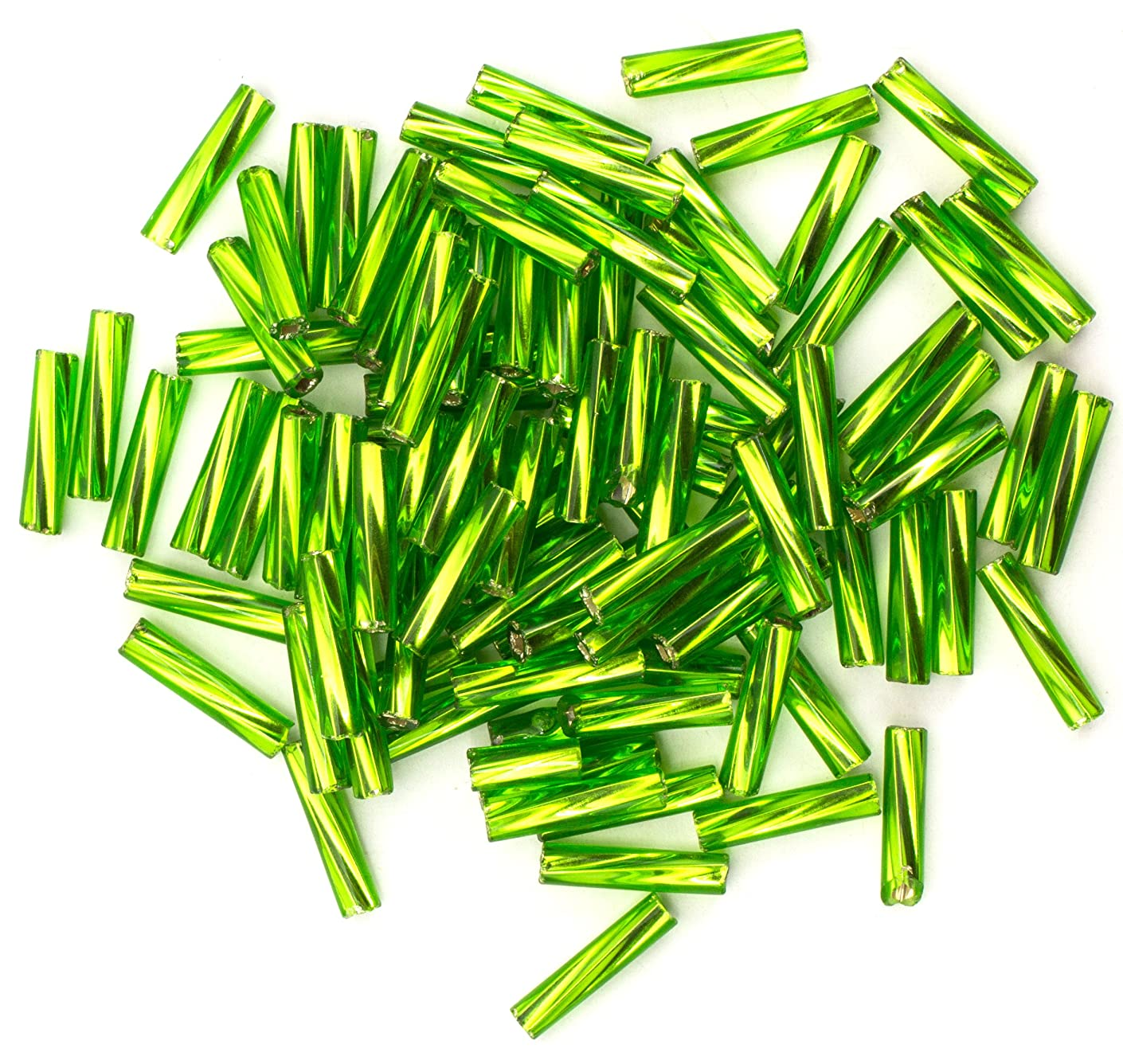 Cousin DIY Size 4 Lime Green Czech Glass Twist Bugle Beads