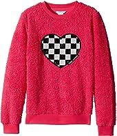 Little Marc Jacobs - Soft Faux Fur Heart Illustration Long Sleeve Sweatshirt (Big Kids)