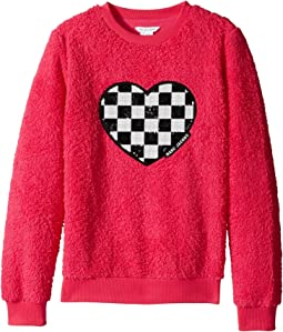 Little Marc Jacobs - Soft Faux Fur Heart Illustration Long Sleeve Sweatshirt (Big Kids)