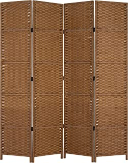 MyGift 4-Panel Woven Paper Rope Room Divider with Wood Frame and Dual-Hinges, Brown