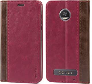 Moto Z2 Play Case,Mulbess BookStyle Leather Wallet Case Cover with Kick Stand for Lenovo Motorola Moto Z2 Play,Wine Red