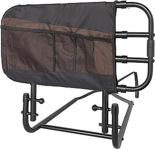 Stander EZ Adjust Bed Rail, Adjustable Senior Bedrail and Bedside Standing Assist Grab Bar with Organizer Pouch, Black