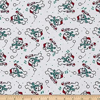 Fabric Merchants Cotton Spandex Jersey Knit Christmas Polar Bear Fabric, Red/Kelly Green, Fabric By The Yard
