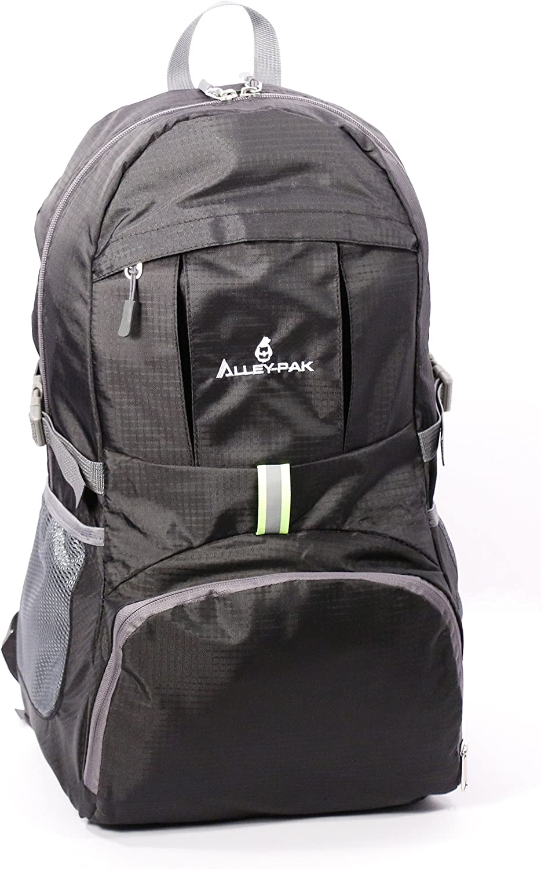 AlleyPak Lightweight Travel Hiking Waterproof Daypack 35L with Reflector Black or orange color Backpack