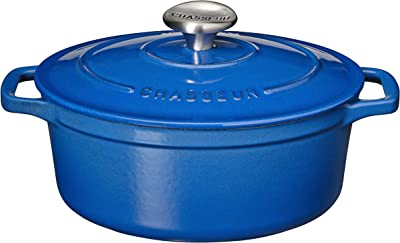 Chasseur 13-3/4 by 10-1/2-Inch Blue Enamel Cast-Iron Oval Dutch Oven