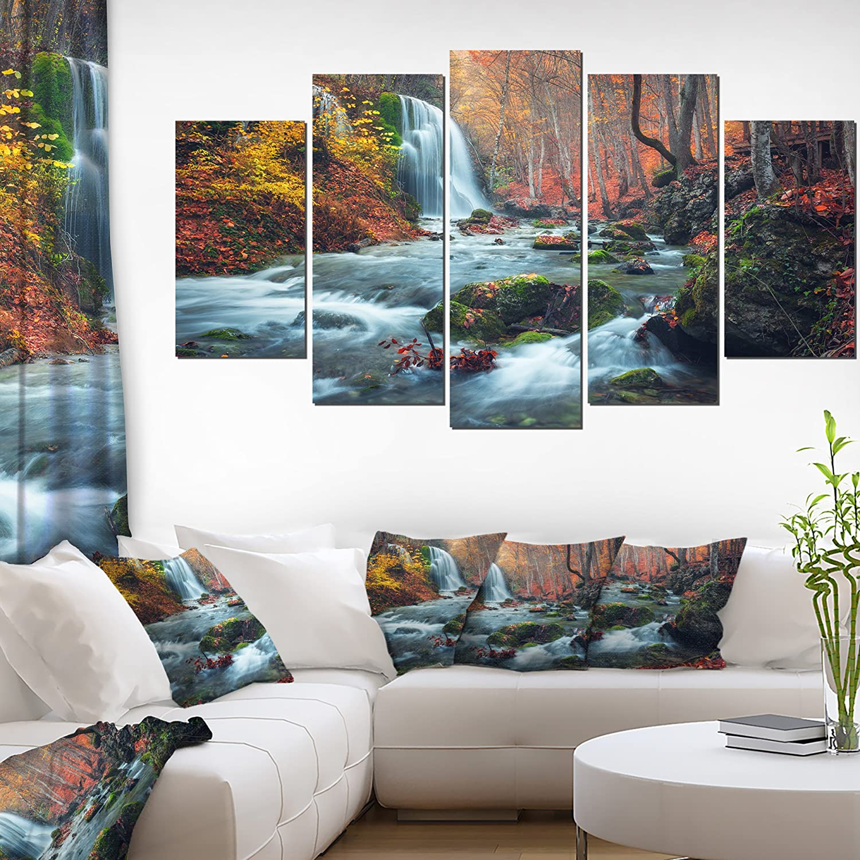 Designart Autumn Mountain Waterfall Long View-Landscape Photo Canvas Print-60x32 5 Piece, 60x32-5 Panels Diamond Shape, orange