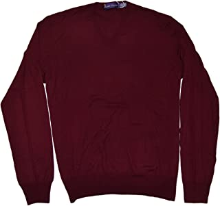 Ralph Lauren Polo Mens Purple Label Red Maroon V-Neck Sweater Cashmere Italy