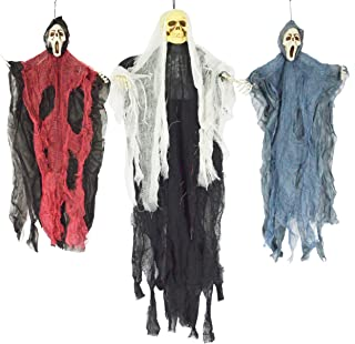 "JOYIN Set of Three Hanging Skeleton Ghost Halloween Decorations(One 35"" Hanging.."