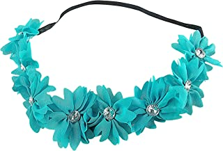 Art Attack Braided Chiffon Crystal Stone Floral Flower Crown Stretch Festival Headband (Turqoise)