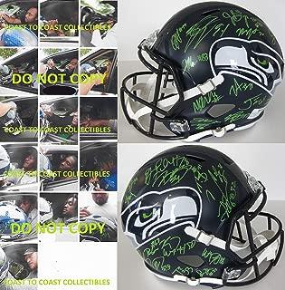 2019 Seattle Seahawks team, signed, autographed, full size football helmet.proof COA