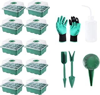 120(10X12) Cells Seedling Starter Trays Kit Green House Supplies Seed Trays with Dome and Base, Plus Planting Tools and Ga...
