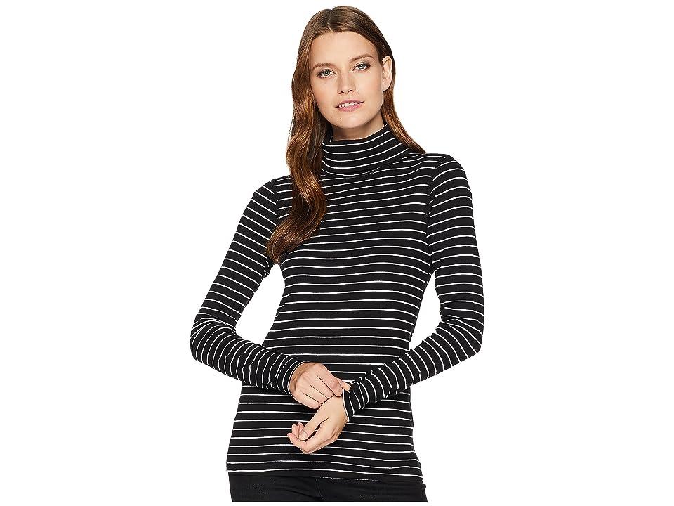 Three Dots Autumn Stripe The Diane Long Sleeve Turtleneck (Black) Women