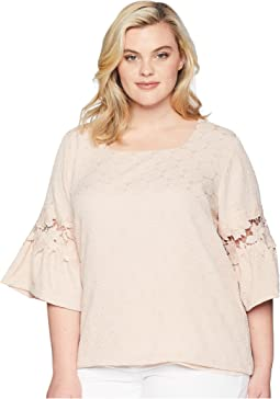 Plus Size Square Neck w/ Lace Detail