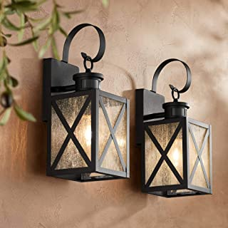Welling Vintage Outdoor Wall Light Fixtures Set of 2 Carriage Style Textured Black 14 1/2
