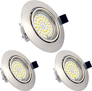 Lot de 3 Spots LED Encastrables Orientables Dimmables, GU10, 6W, Blanc Chaud 3000K, 230V, IP23, éclairage plafond LED inté...