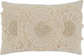"SARO LIFESTYLE Floral Appliqué Throw Pillow, 14"" x 23"" Cover Only, Natural"