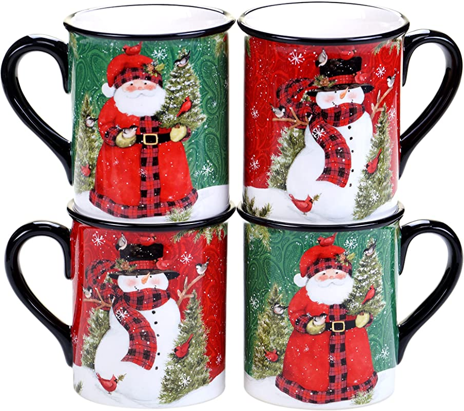 Certified International Winter S Plaid 16 Oz Mugs Set Of 4 2 Assorted Designs